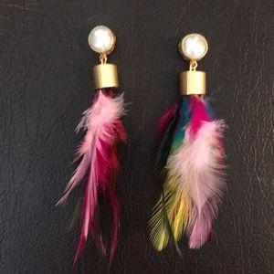 Never worn kate Pollmann feather earrings.
